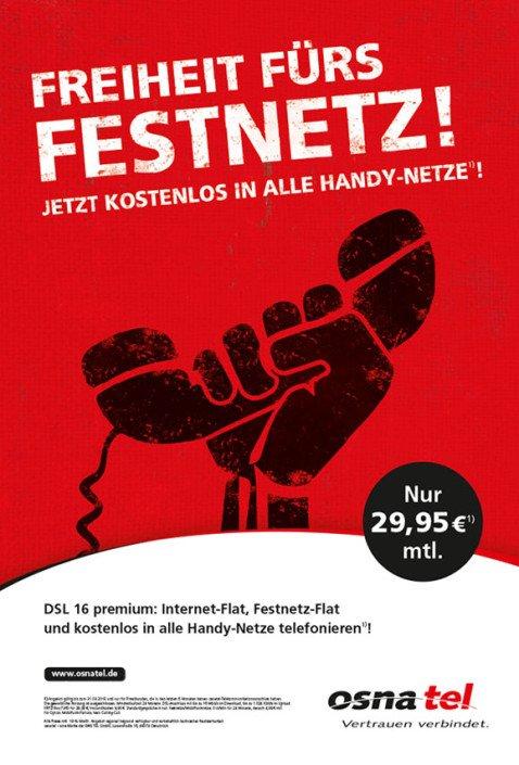Werbekampagne Guerillamarketing - osnatel - Freiheit fürs Festnetz