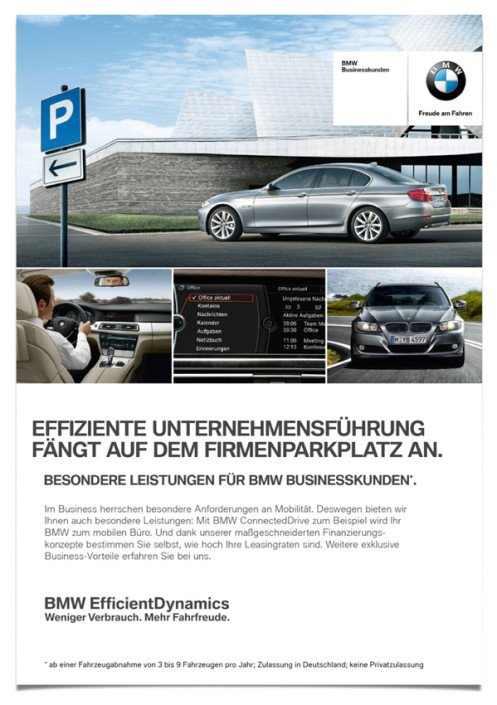 BMW – Anzeigenserie – Effiziente Unternehmensführung