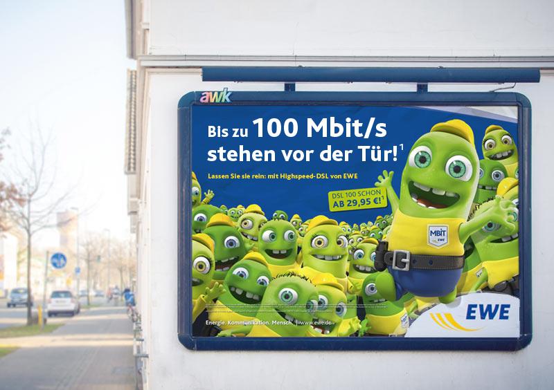 Großflächenwerbung EWE Mbit/s