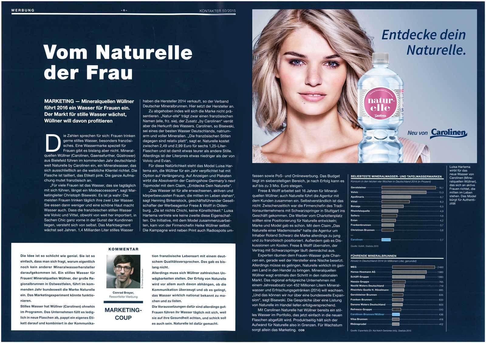 Der Kontakter Bericht über Naturelle-Werbung