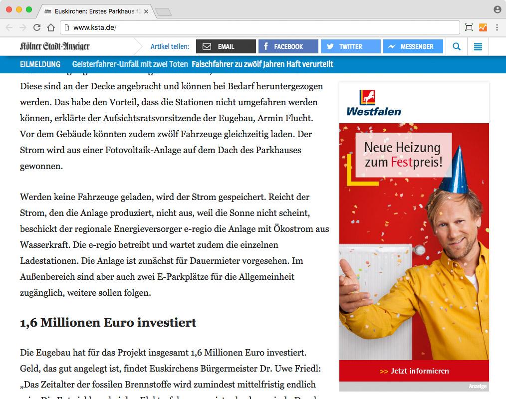 Westfalen Heizbonus – Half Page Ad