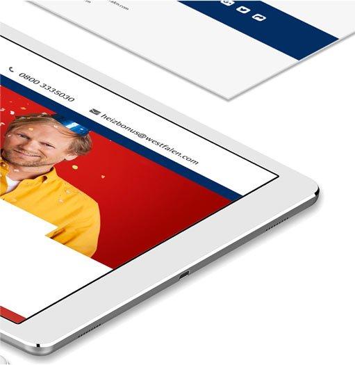 Westfalen Heizbonus – Landingpage – iPad