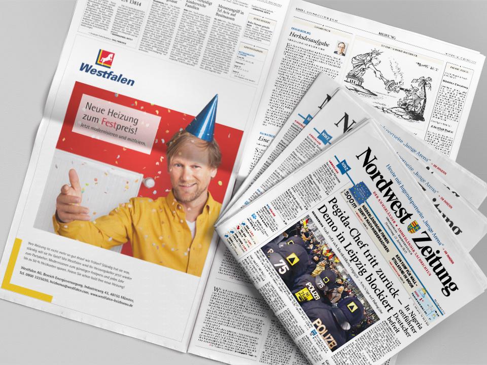 Westfalen Heizbonus – Zeitungs Anzeige