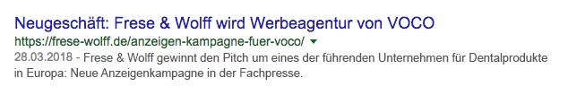 Google Suchergebnis - Title-Tag und Meta Description