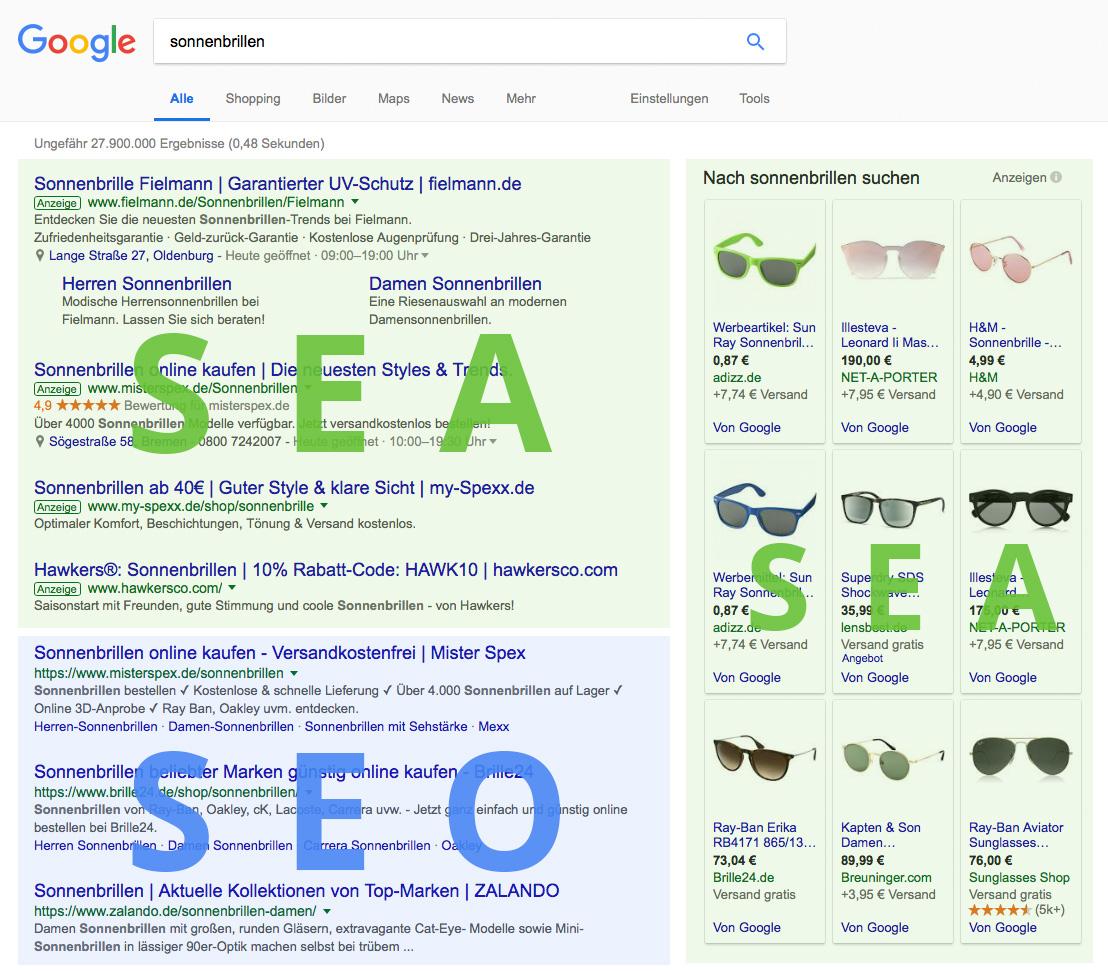Google-Suche Unterschied zwischen SEA und SEO