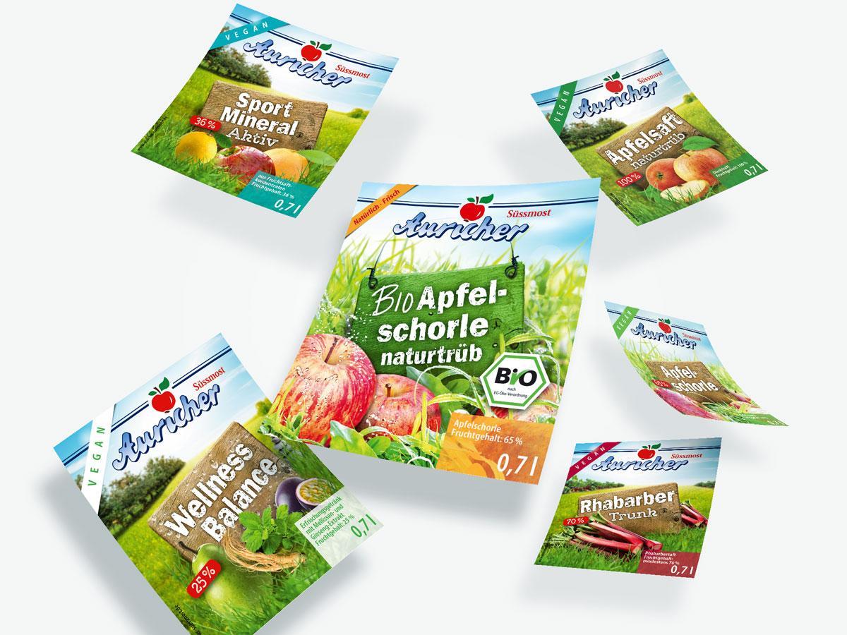 Packaging-Design - Auricher Fruchtsäfte - Etiketten - Frese & Wolff