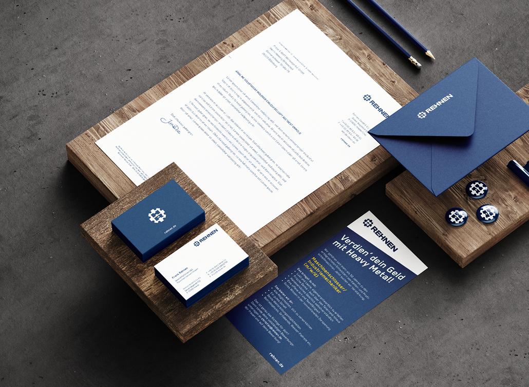 Briefbogen, Visitenkarten und Briefumschlag der Firma Rehnen