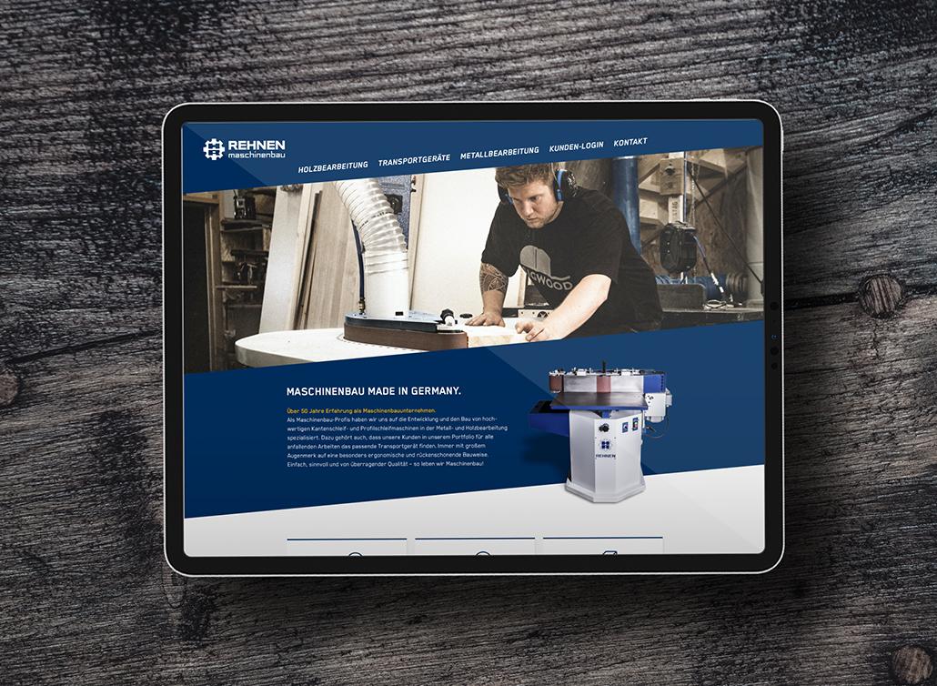 Startseite der Rehnen-Website auf einem Tablet